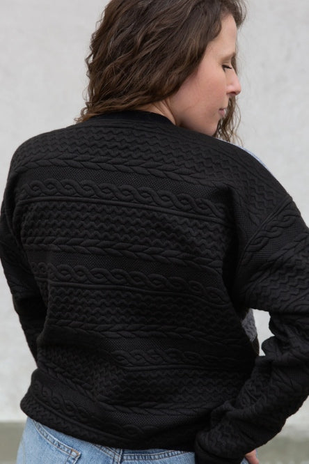 Jordan Sweater by Copious FW2020/2021, black quilted texture on the back of the garment, rear view