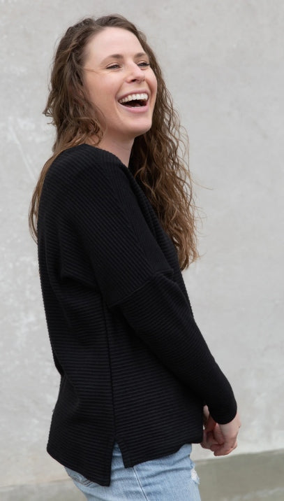 James Sweater in Black by Copious, ribbed knit, long/raglan sleeves, drop hem
