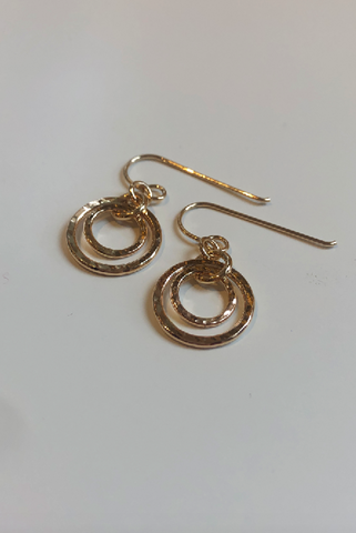Nesting Duo Circle Earrings • Hammer Textured 14K Gold