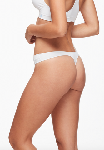 Luna Thong Undies by Miel, White, microfibre and spandex, antimicrobial, sizes S/M, M/L, L/XL, made in Canada