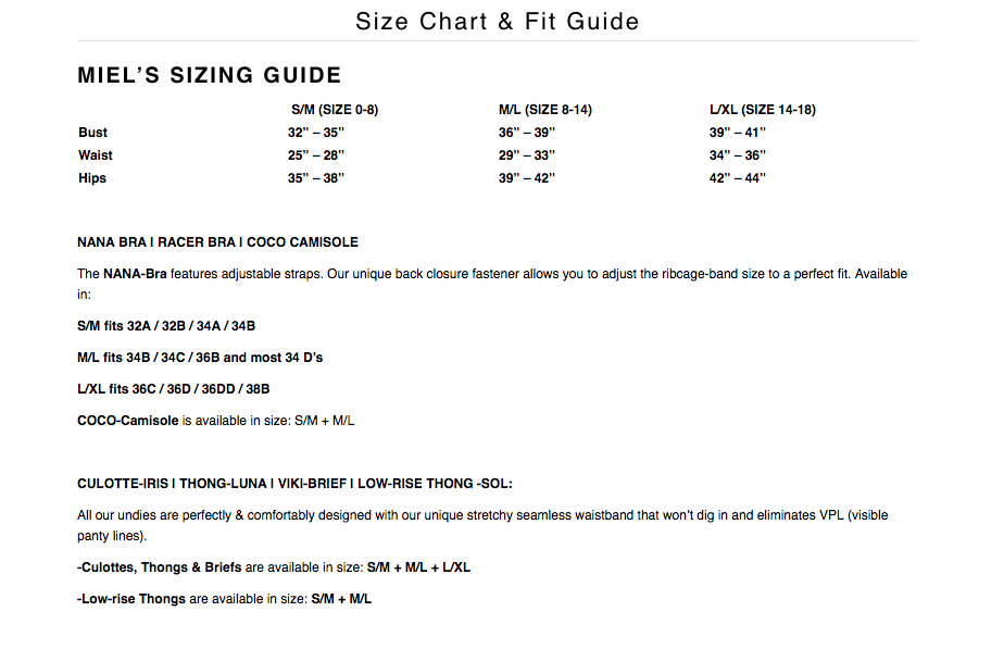 Miel Undies Sizing Chart