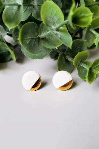 Round Ceramic and Gold Studs