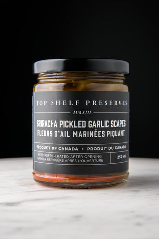 Sriracha Pickled Garlic Scapes - available only for curbside or in store pick up