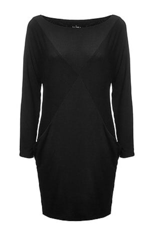 Suzette dress, melow, made in montreal, knit, long-sleeved dress black