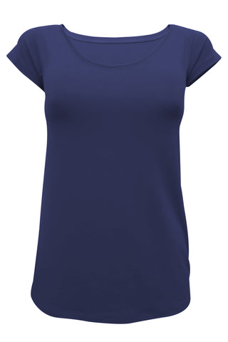 Amy Short Sleeve Tee by Moovment, Navy, short sleeves, round neck, close fit, bamboo, sizes XS to XXL, made in Quebec