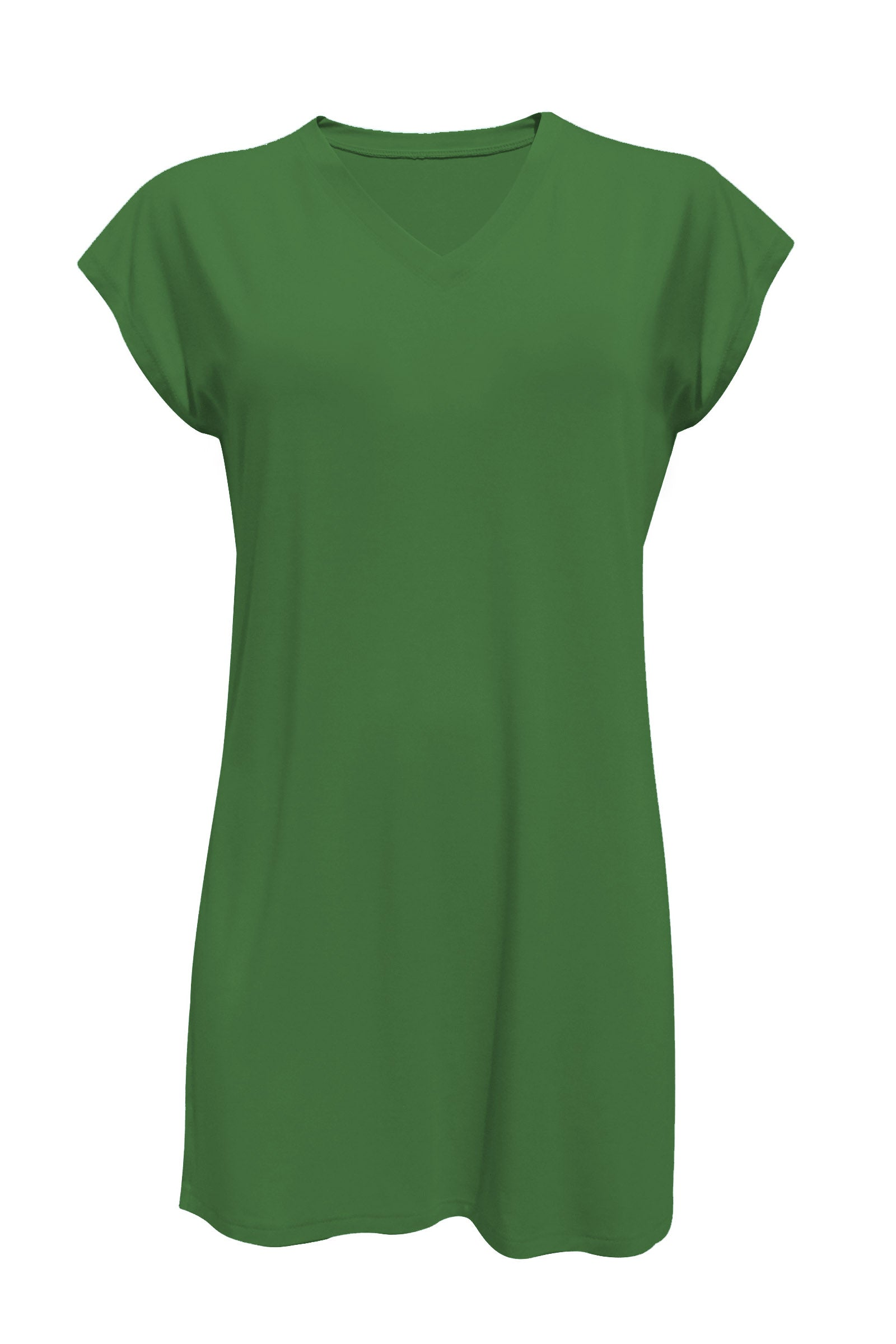 Felicity Tunic by Moovment, Avocado, V-neck, cap sleeves, side slits, bamboo, sizes XS to XXL, made in Quebec