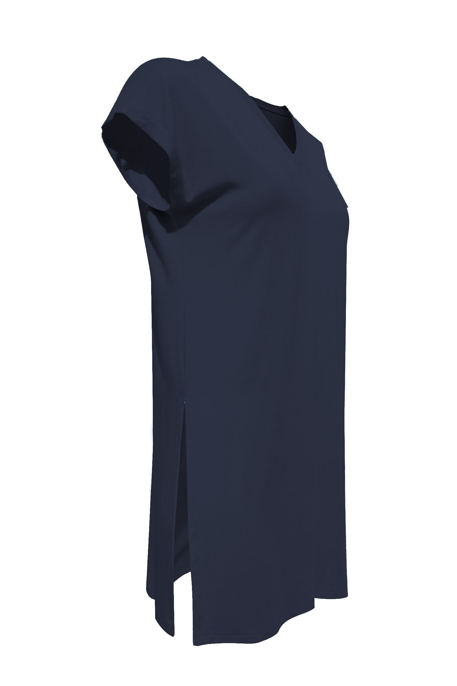 Felicity Tunic by Moovment, Navy, V-neck, cap sleeves, side slits, bamboo, sizes XS to XXL, made in Quebec
