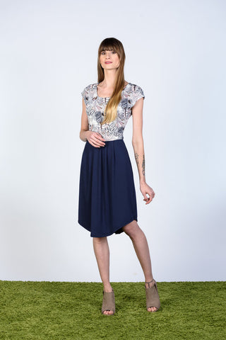 Kate Dress by Tangente, floral bodice, navy skirt, cap sleeves, bamboo rayon, rounded hemline, sizes XS to XL, made in Ottawa
