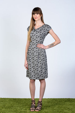 Olivia Dress by Tangente, Grey with Black feathers, draped neck, cap sleeves, box pleats, bamboo blend, sizes XS to XL, made in Ottawa