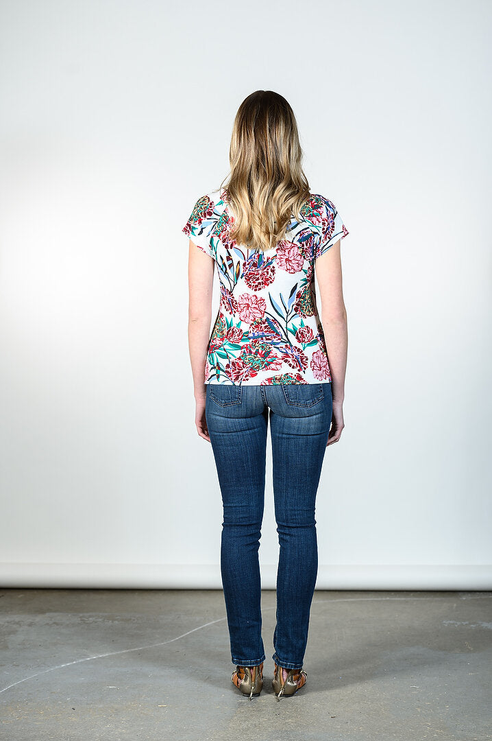 Anna Top by Tangente, Spring 2020 version, Floral print, back view, V-neck, cross-over, rayon, sizes XS to XXL, made in Ottawa