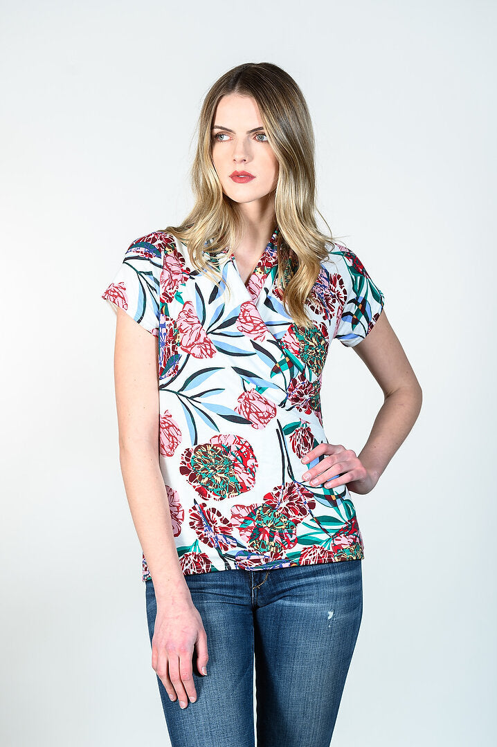 Anna Top by Tangente, Spring 2020 version, Floral print, V-neck, cross-over, rayon, sizes XS to XXL, made in Ottawa