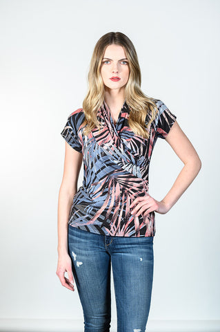 Anna Top by Tangente, Spring 2020 version, Palms print, V-neck, cross-over, rayon, sizes XS to XXL, made in Ottawa