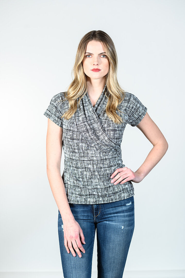Anna Top by Tangente, Spring 2020 version, Lines print, V-neck, cross-over, rayon, sizes XS to XXL, made in Ottawa