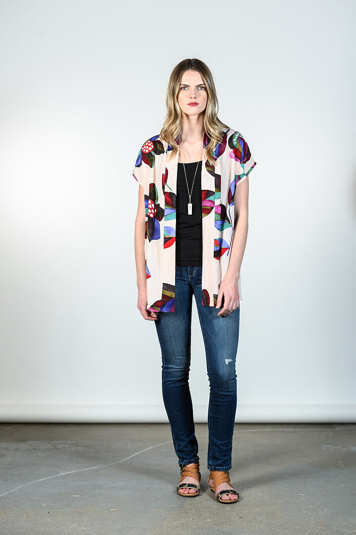 Tia Cardigan by Tangente, Blush, kimono style, open front, viscose, eco fabric, OEKO-TEX certified, sizes XS to XL, made in Ottawa