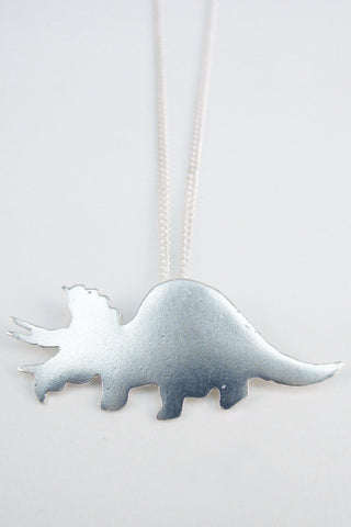 Sterling Silver Triceratops Dinosaur necklace by Slashpile Designs