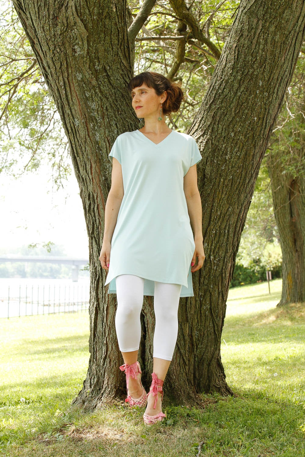 Felicity Tunic by Moovment, Avocado, V-neck, cap sleeves, side slits, colour not available