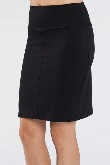 Dylan Skirt by Kollontai, Black, side view, pencil skirt, double knit, wide waistband, slit at the back, sizes XS to XL, made in Montreal