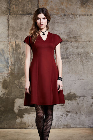 Ugoline Dress by Melow, Marsala, princess dress, v-neck, Ponte Di Roma, sizes XS to XXL, made in Montreal