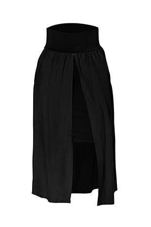 Wilma Skirt by Melow, Black, double layer, fitted underskirt, open overskirt, wide waistband, pockets, sizes XS-XL, made in Montreal