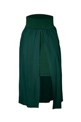 Wilma Skirt by Melow, Green, double layer, fitted underskirt, open overskirt, wide waistband, pockets, sizes XS-XL, made in Montreal