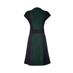 Winnie Dress by Melow par Melissa Bolduc, Green, back view, crew neck, front zipper, short sleeves, diagonal stripe, black panels at sides and waist, sizes XS-XXL, made in Quebec