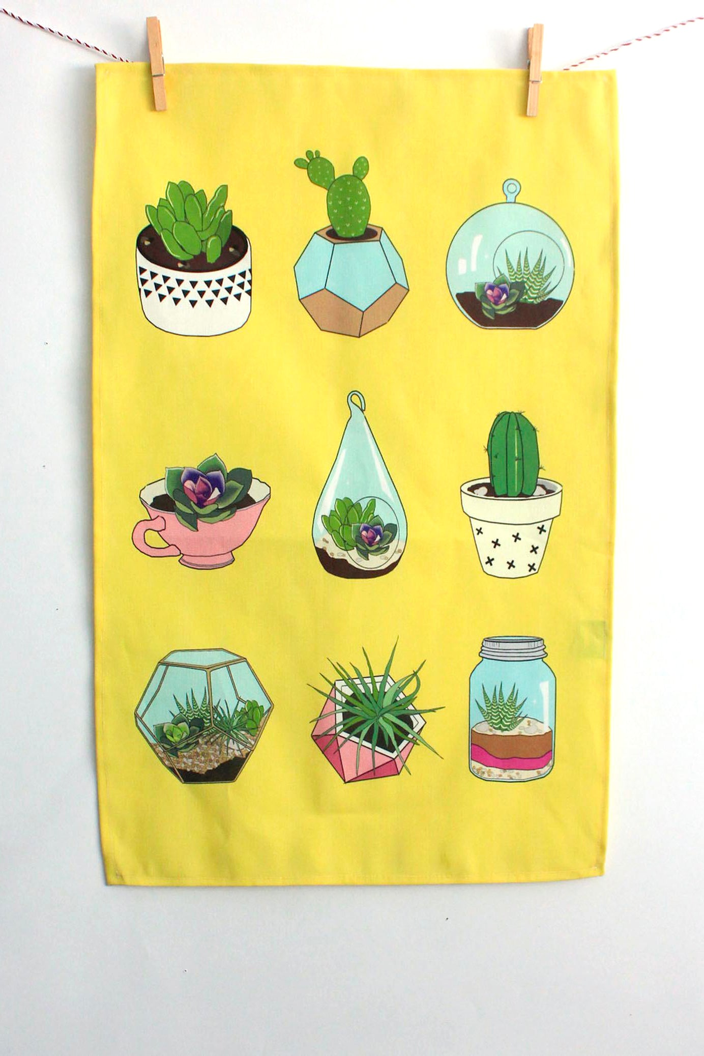 Terrarium Succulents Tea Towel - Yellow