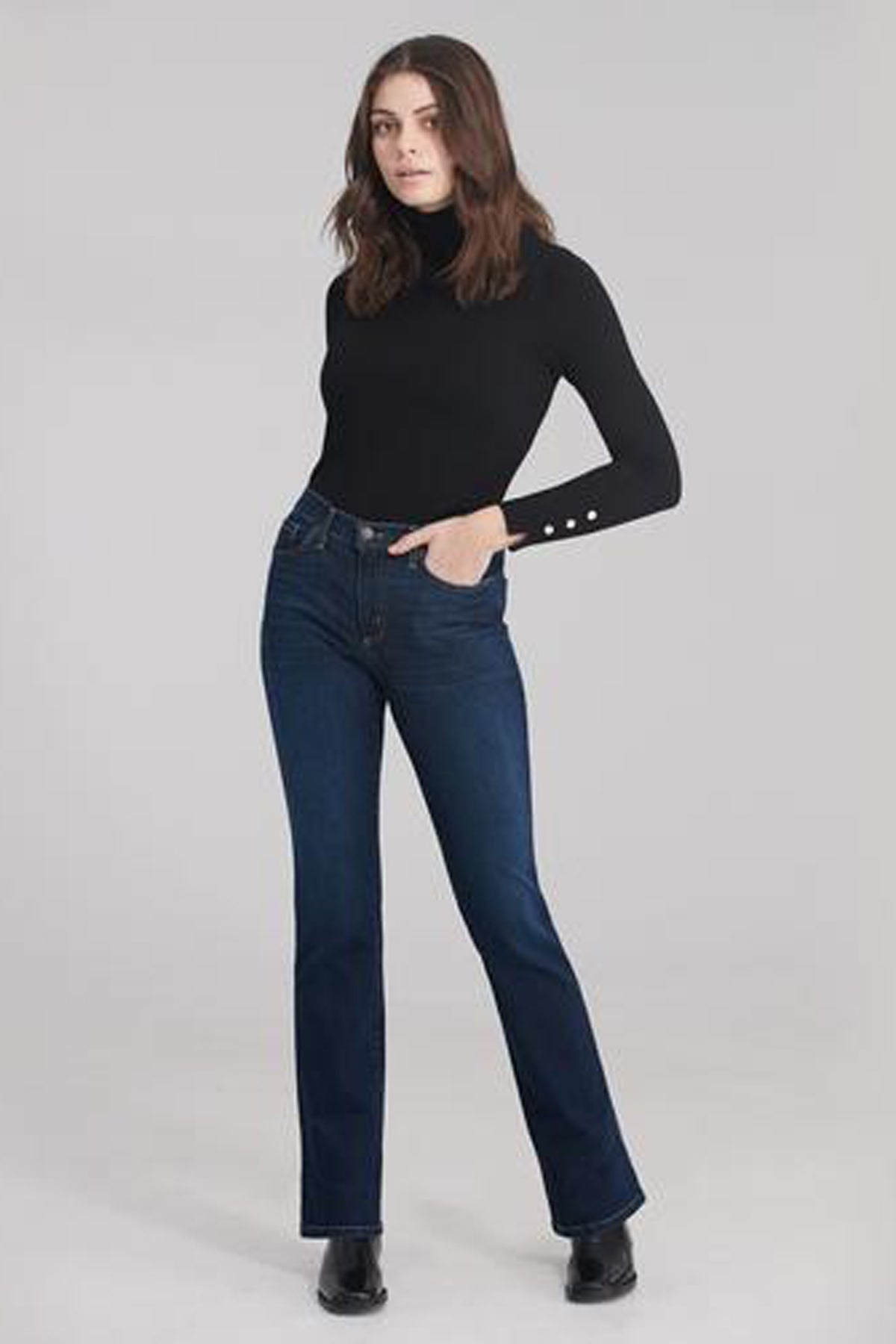 Classic Rise Straight Yoga Jean, Namaste, classic rise waist, straight cut, 32 inch inseam, sizes 24-34, made in Canada