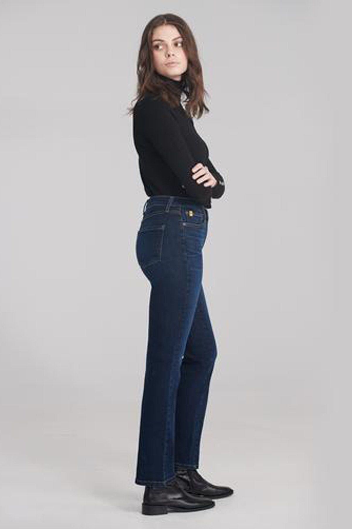 Classic Rise Straight Yoga Jean, Namaste, side view, classic rise waist, straight cut, 32 inch inseam, sizes 24-34, made in Canada