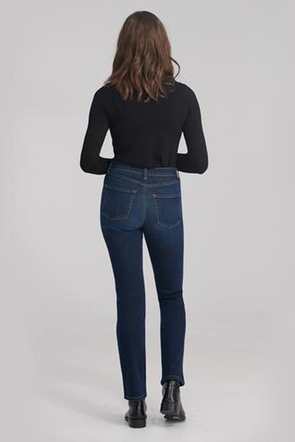Classic Rise Straight Yoga Jean, Namaste, back view, classic rise waist, straight cut, 32 inch inseam, sizes 24-34, made in Canada