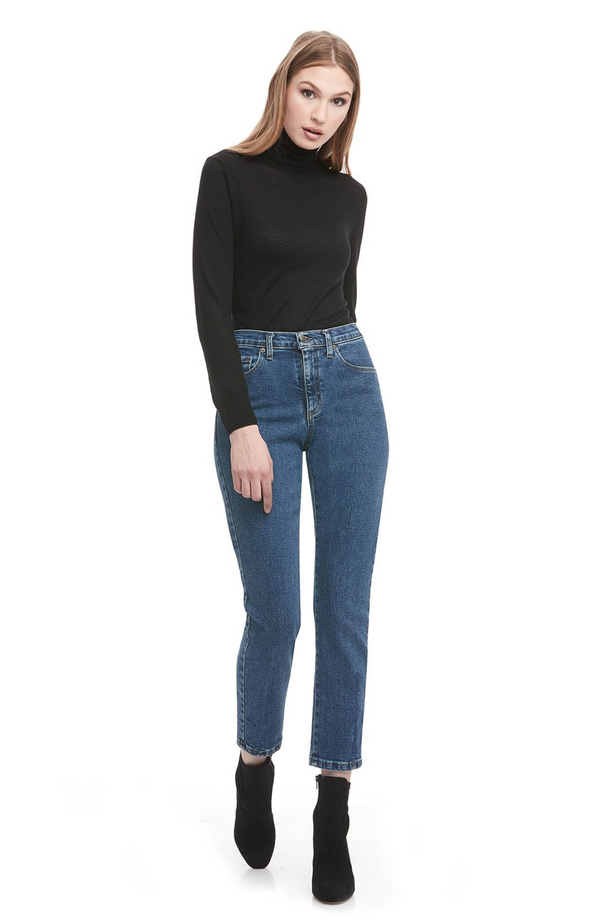EMILY High Rise Slim Yoga Jean, Barbuda, high rise, 28 inch inseam, slim fit, 90s style, sizes 24-34, made in Canada