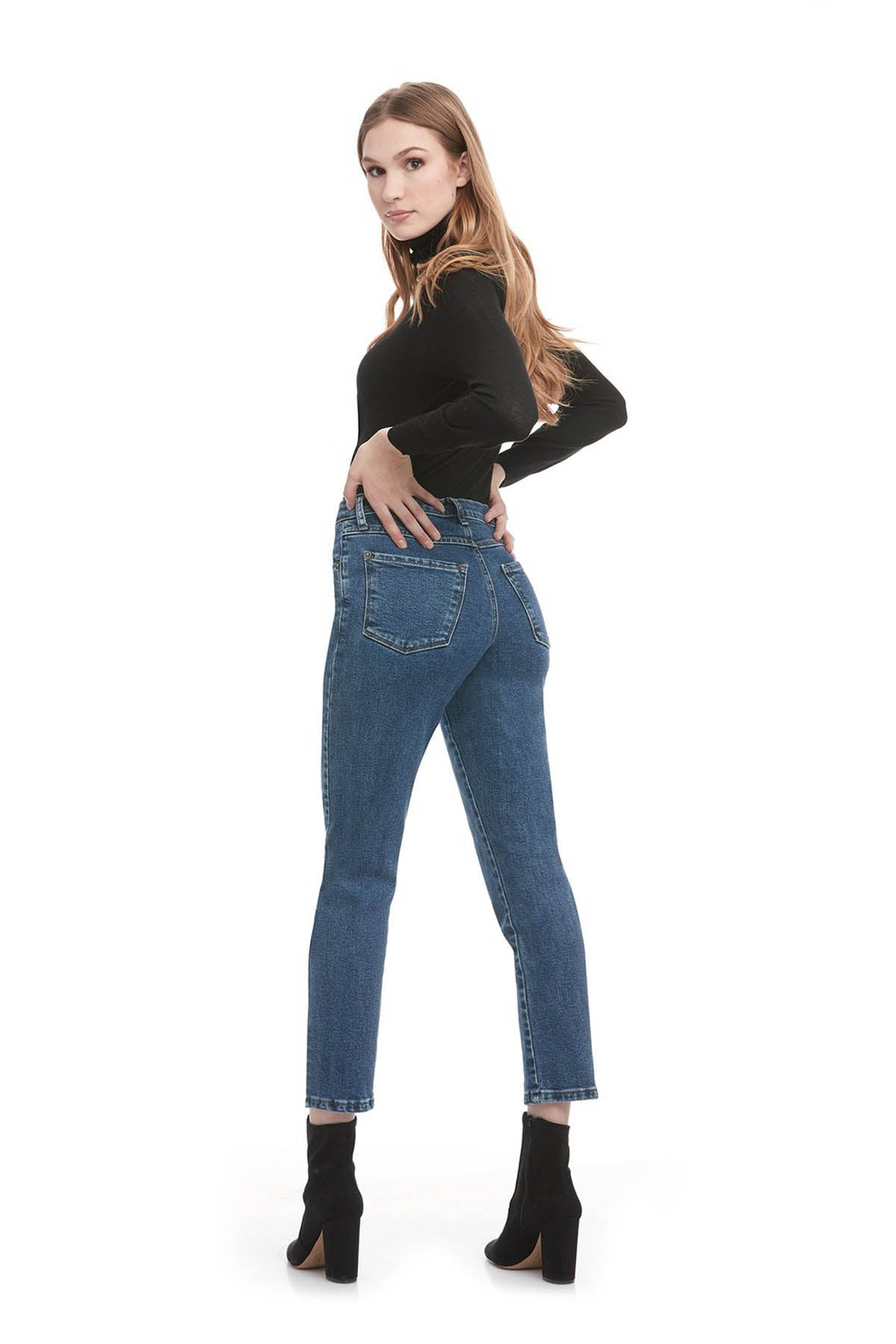 EMILY High Rise Slim Yoga Jean, Barbuda, back view, high rise, 28 inch inseam, slim fit, 90s style, sizes 24-34, made in Canada