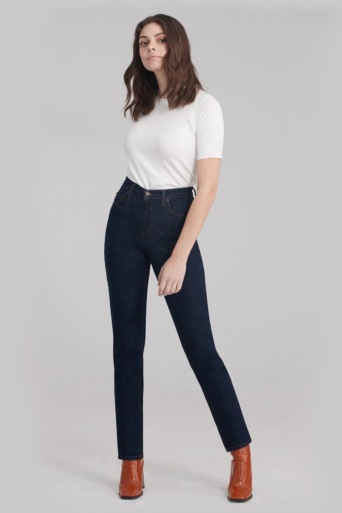 New High Rise Slim Yoga Jean, Fearless, high waist, slim fit, 30 inch inseam, sizes 24-34, made in Canada