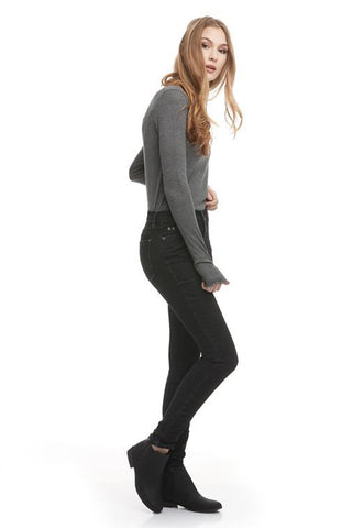 High Rise Skinny Yoga Jean, Desirade, side view, high waist, skinny fit, 30 inch inseam, sizes 24-34, made in Canada