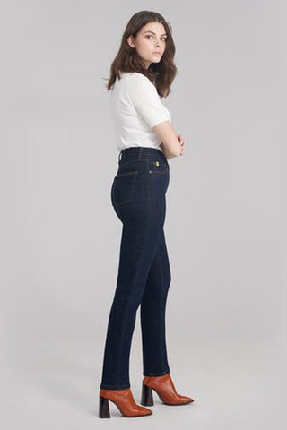 New High Rise Slim Yoga Jean, Fearless, side view, high waist, slim fit, 30 inch inseam, sizes 24-34, made in Canada