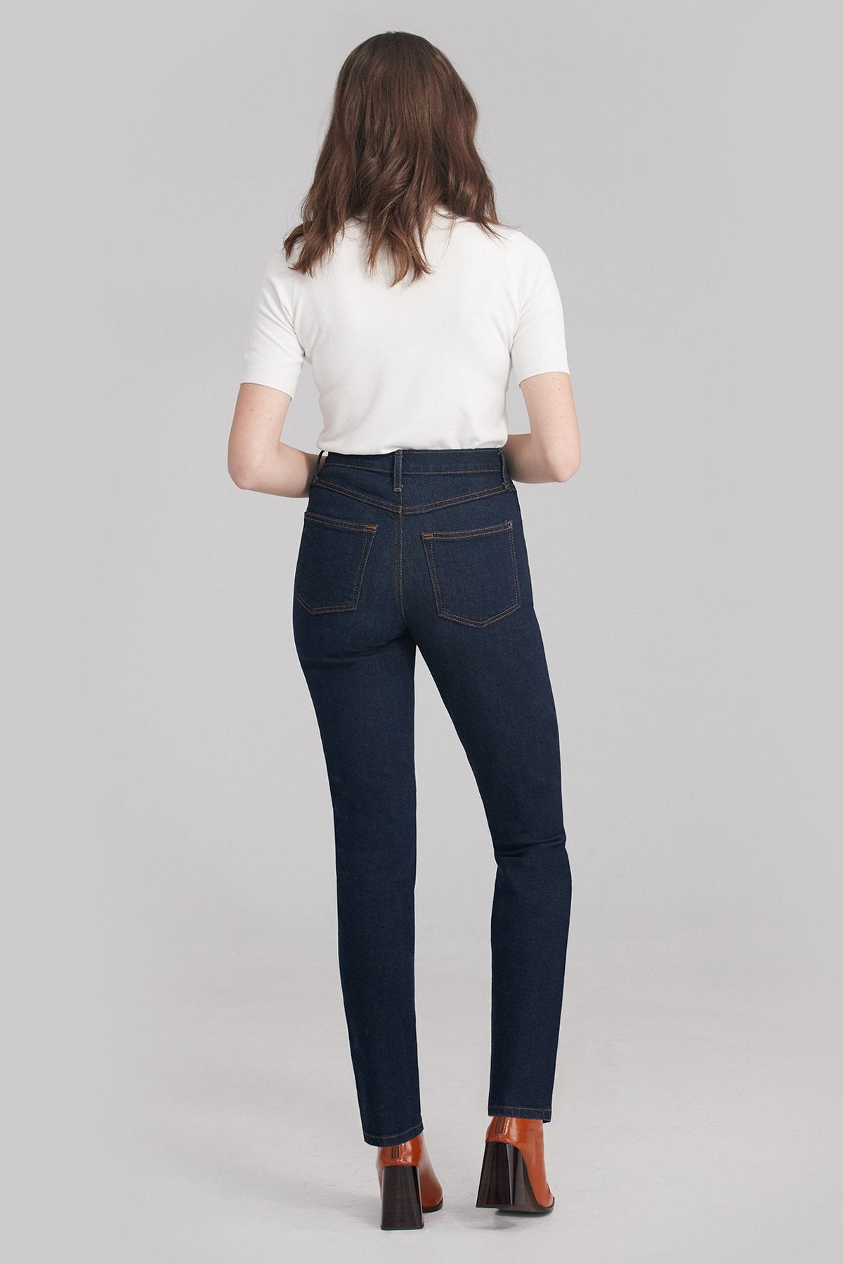 New High Rise Slim Yoga Jean, Fearless, back view, high waist, slim fit, 30 inch inseam, sizes 24-34, made in Canada