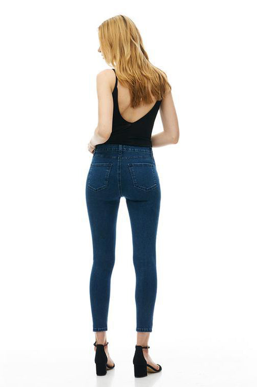 High Rise Ankle Rachel Skinny Yoga Jeans, Kennebunkport, back view, dark wash, satin finish, high rise, 27 inch inseam, sizes 24-34, made in Canada