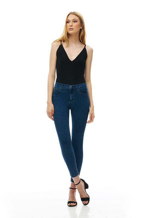 High Rise Ankle Skinny Rachel Yoga Jeans, Kennebunkport, dark wash, satin finish, high rise, 27 inch inseam, sizes 24-34, made in Canada