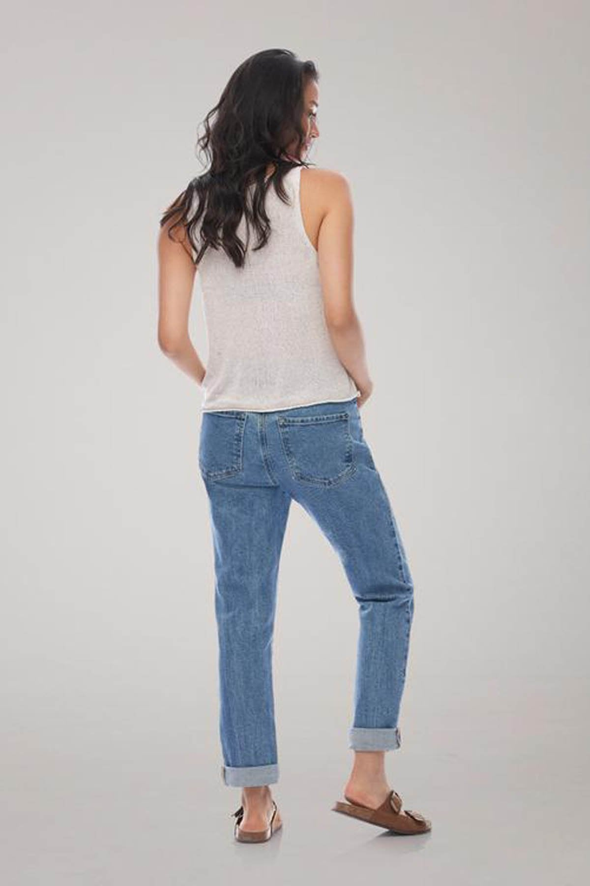 MALIA Relaxed Slim Yoga Jean, back view, Second Denim, Lake House, loose fit, relaxed, tapered leg, low rise, 27-29 inch inseam, made in Canada