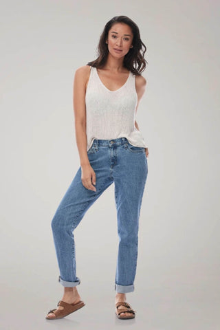MALIA Relaxed Slim Yoga Jean, Second Denim, Lake House, loose fit, relaxed, tapered leg, low rise, 27-29 inch inseam, made in Canada