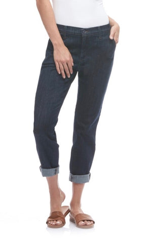 High Rise Relaxed Slim Chino Yoga Jean, Rome, dark denim, Malia style, 28 inch inseam, cuffed, sizes 25-34, made in Canada