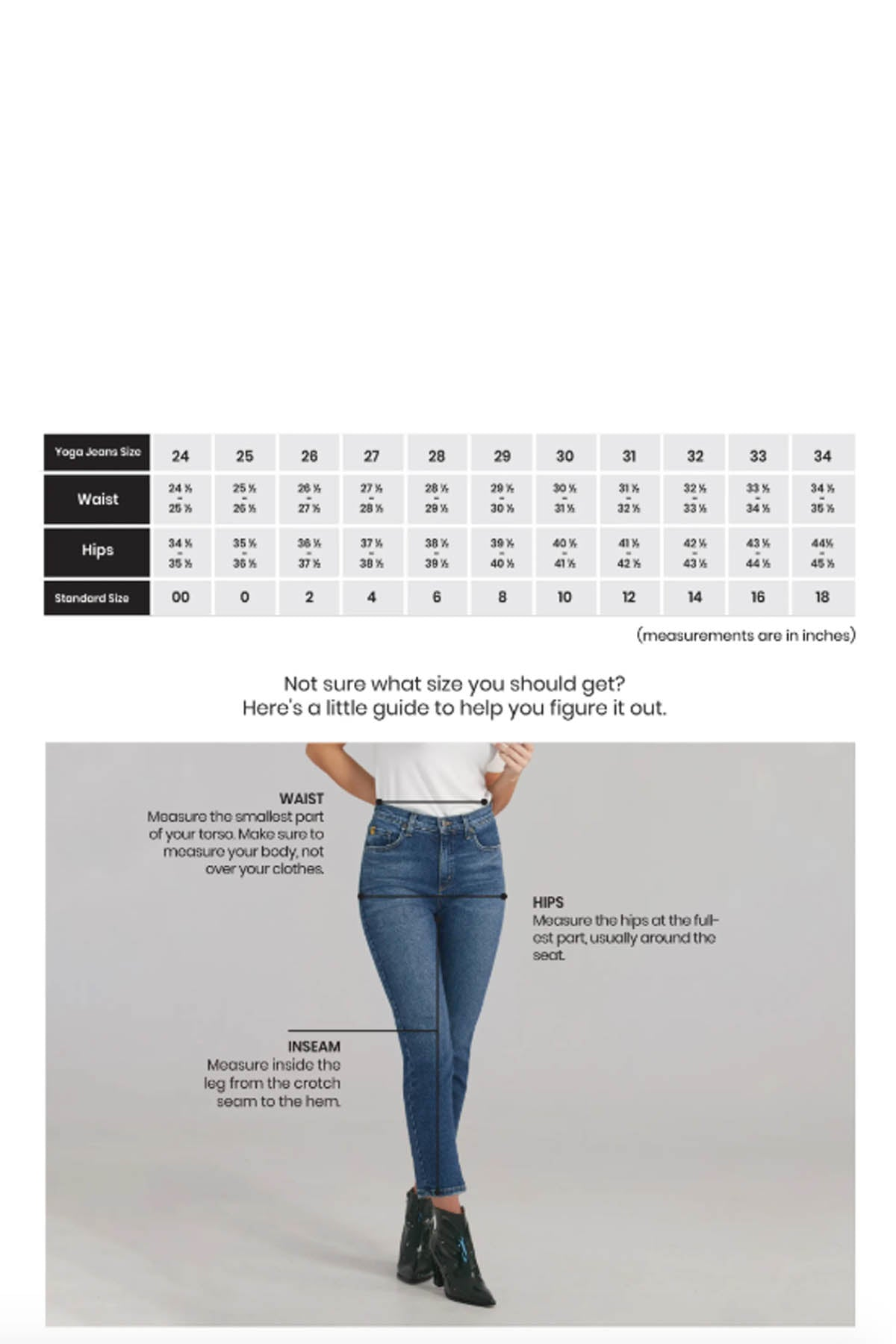 Yoga Jeans Size Chart