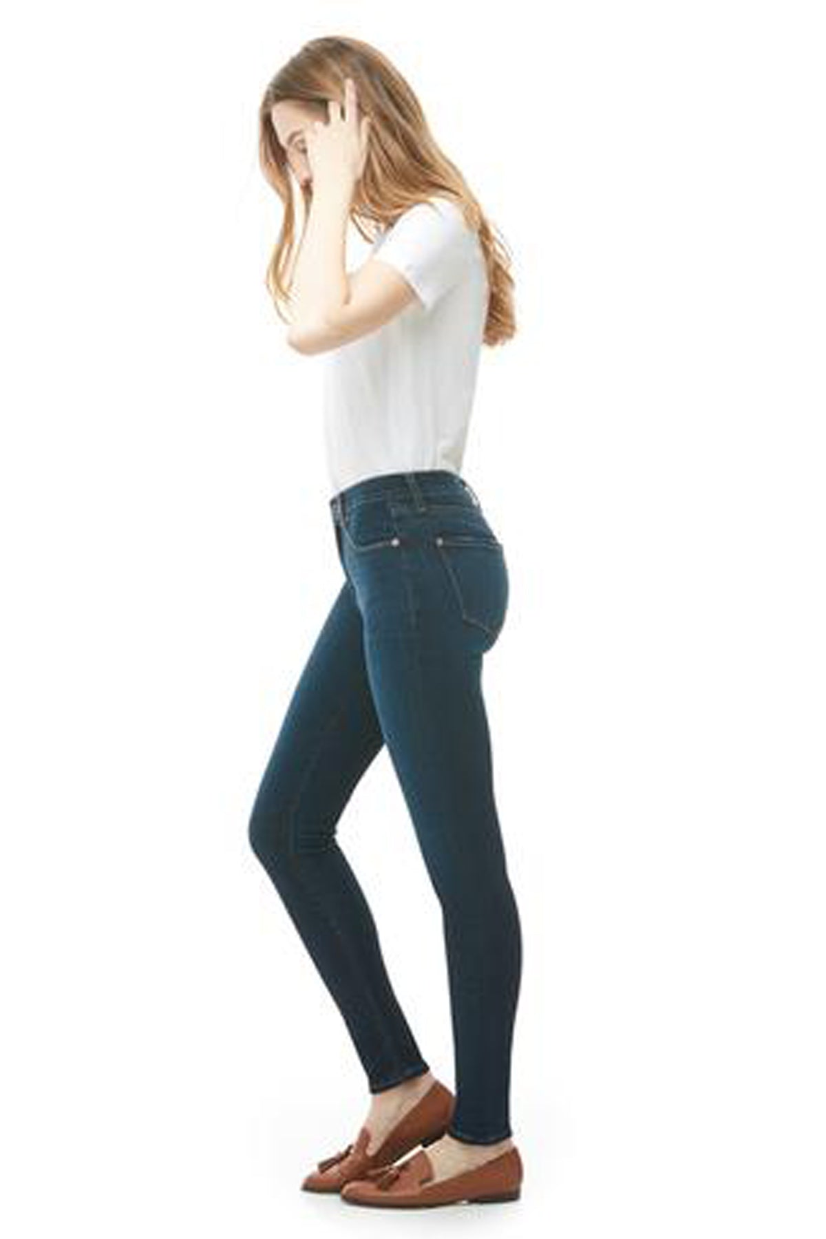 Classic Rise Skinny Rachel Yoga Jeans, Dark Indie, side view, classic rise, skinny, 30 inch inseam, 24-34, made in Canada