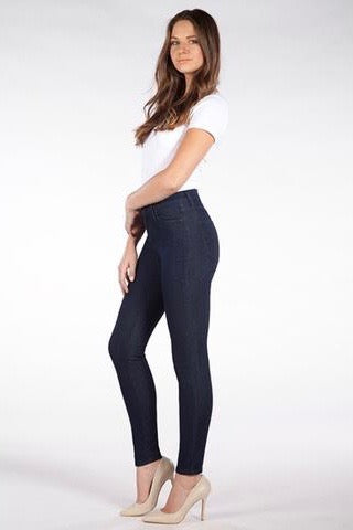 Sky Rise Skinny Yoga Jean - Indigo, very high-waisted, skinny jean, sizes 24-34,  made in Canada