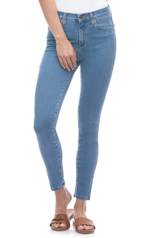High Rise Ankle Yoga Jeans, Venus, light blue, skinny, Rachel style, 27 inch inseam, sizes 25-34, made in Canada