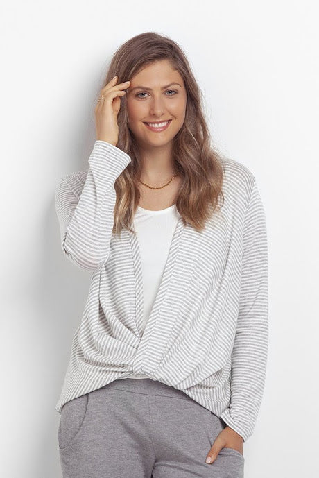 Pryia Sweater by Kollontai, twisted front, long sleeves, lightweight knit, grey and white stripes, sizes XS to XL, made in Montreal
