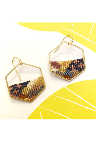 Greta - Hexagonal Abstract Hand Beaded Earrings - MADE TO ORDER