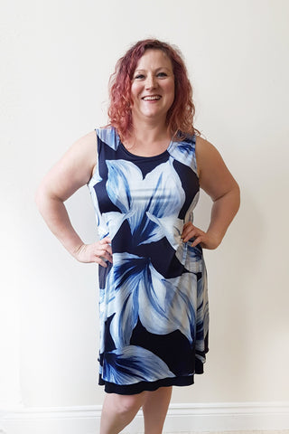 Reversible Blue Floral/ Navy Dress