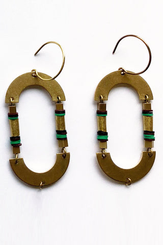 arroyo green brass earring by kazak. made in montreal