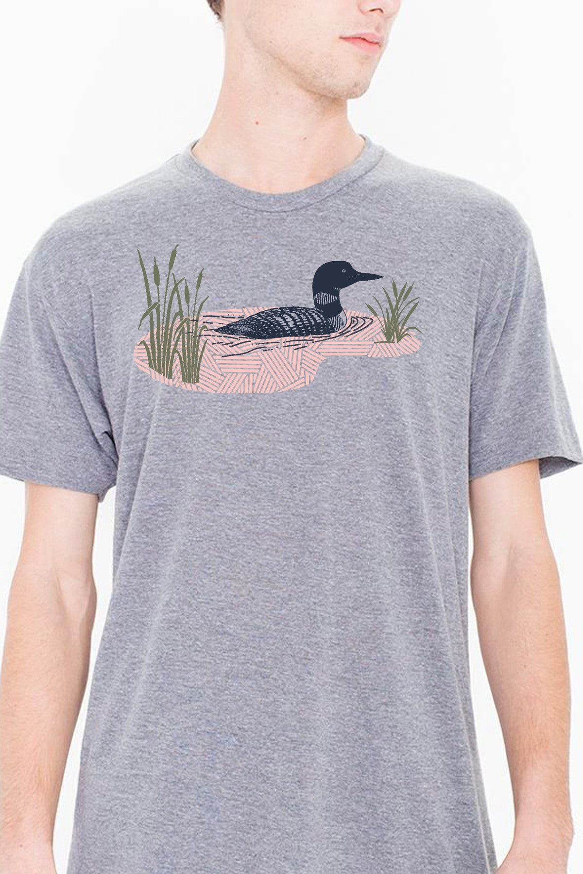 Workshop Studio, Loon and Lake hand silkscreened tee. Navy, pink and olive on athletic grey. Made in Ottawa, Canada