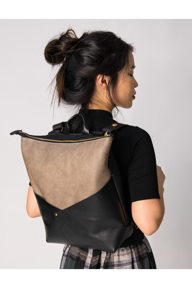 Atwood  - Laptop  Backpack - Taupe Recycled Leather